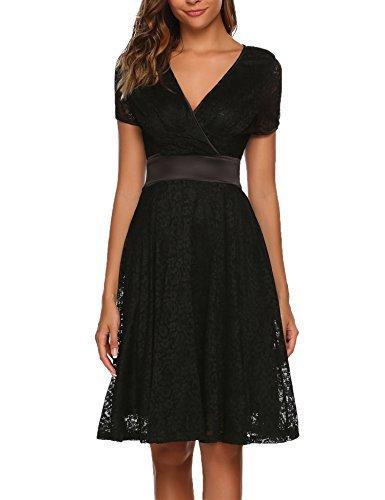 Schwarzes Kleid mit V Ausschnitt - Schwarzes Kleid